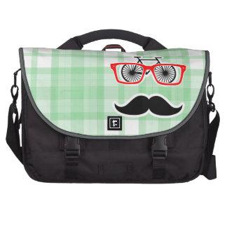 Funny Mustache, Green Plaid Laptop Computer Bag