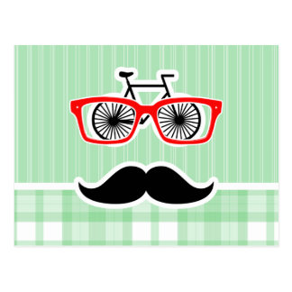 Funny Mustache, Green Plaid Postcard