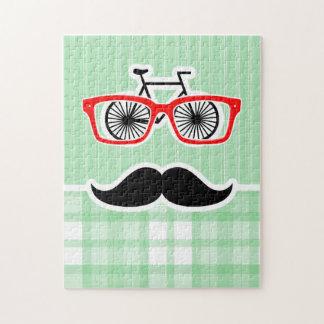 Funny Mustache, Green Plaid Puzzle