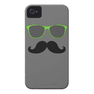 FUNNY MUSTACHE GREEN SUNGLASSES iPhone 4 COVER