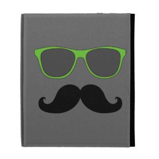 FUNNY MUSTACHE GREEN SUNGLASSES iPad FOLIO CASE
