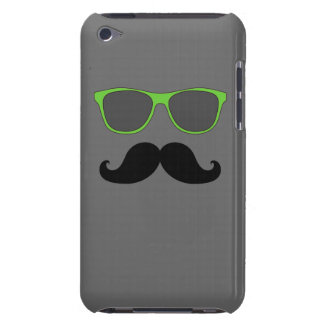 FUNNY MUSTACHE GREEN SUNGLASSES iPod TOUCH CASES
