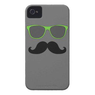 FUNNY MUSTACHE GREEN SUNGLASSES iPhone 4 Case-Mate CASE
