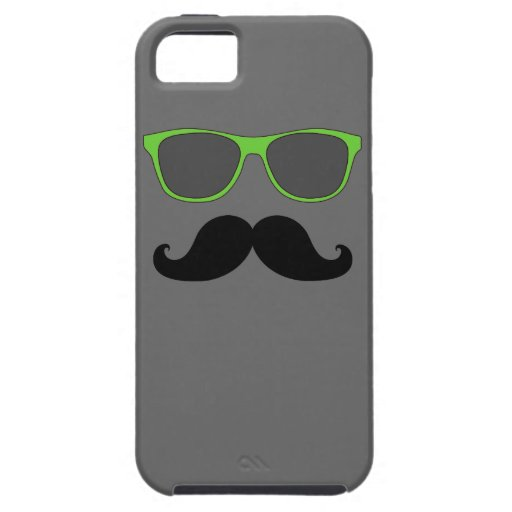 FUNNY MUSTACHE GREEN SUNGLASSES iPhone 5 CASE