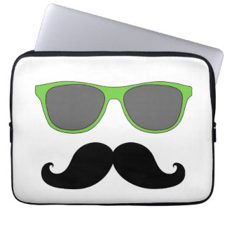 Funny Mustache, Green Sunglasses Laptop Sleeve