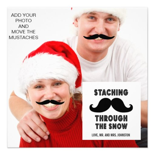 Funny Mustache Holiday Greeting Photo Card