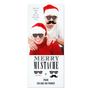 Funny Mustache Holiday Photo Card