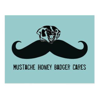 Funny Mustache Honey Badger Cares Postcard