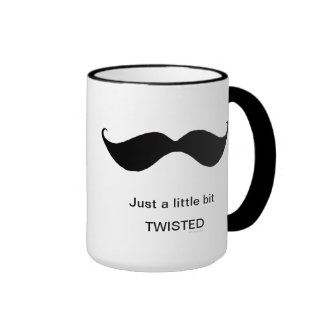 Funny Mustache - Just A Little Bit Twisted Ringer Mug