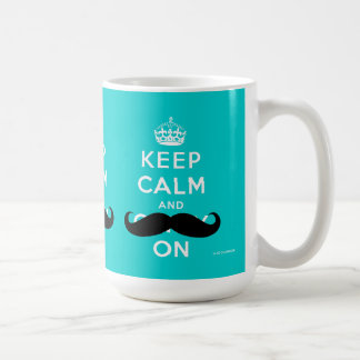 Funny Mustache Keep Calm and Carry On | Aqua Coffee Mug
