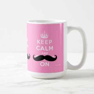 Funny Mustache Keep Calm and Carry On | PINK Coffee Mug