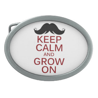 Funny Mustache Keep Calm and Grow On Oval Belt Buckle