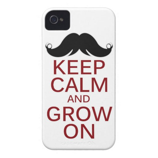 Funny Mustache Keep Calm and Grow On iPhone 4 Case