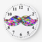 Funny Mustache Large Clock