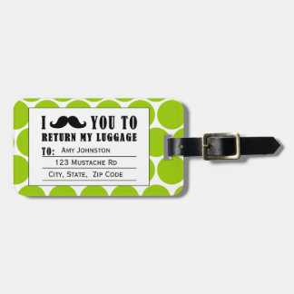 FUNNY MUSTACHE LUGGAGE TAG | GREEN DOTS