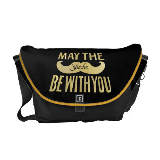Funny Mustache - May the Stache be with you Courier Bag