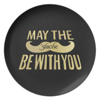 Funny Mustache - May the Stache be with you Plate