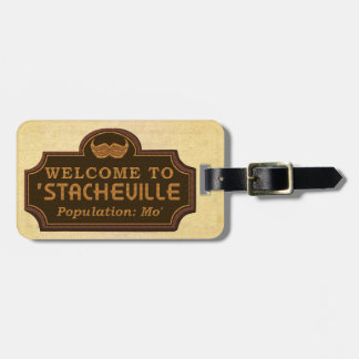 Funny Mustache Mo Welcome Sign Bag Tag