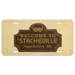 Funny Mustache Mo Welcome Sign License Plate