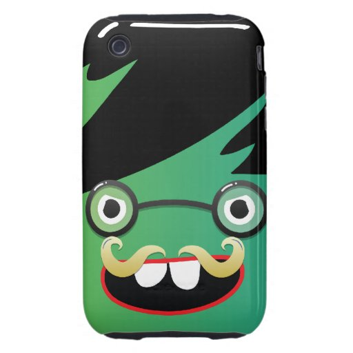 funny mustache nerdy geek face guy tough iPhone 3 cover