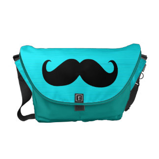Funny Mustache on Aqua Background Courier Bags