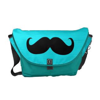 Funny Mustache on Aqua Background Messenger Bags