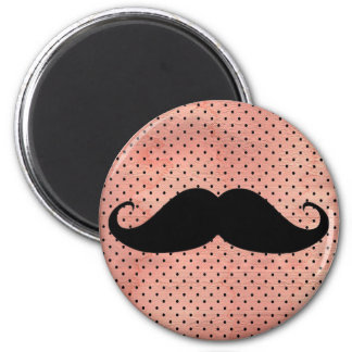 Funny Mustache On Cute Pink Polka Dot Background 2 Inch Round Magnet