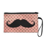Funny Mustache On Cute Pink Polka Dot Background Wristlet Clutch
