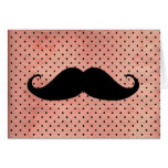 Funny Mustache On Cute Pink Polka Dot Background Greeting Card