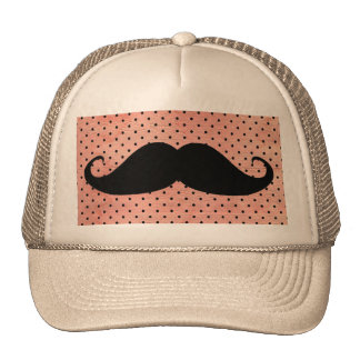Funny Mustache On Cute Pink Polka Dot Background Hat