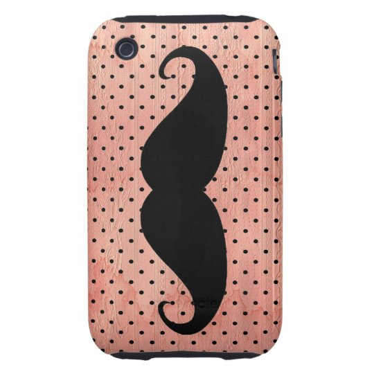 Funny Mustache On Cute Pink Polka Dot Background iPhone 3 Tough Case