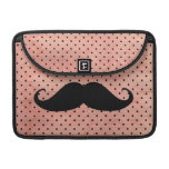 Funny Mustache On Cute Pink Polka Dot Background Sleeve For MacBooks