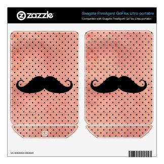 Funny Mustache On Cute Pink Polka Dot Background FreeAgent GoFlex Skin