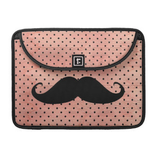 Funny Mustache On Cute Pink Polka Dot Background Sleeve For MacBook Pro