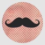 Funny Mustache On Cute Pink Polka Dot Background Round Stickers