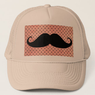 Funny Mustache On Cute Pink Polka Dot Background Trucker Hat