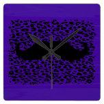 Funny Mustache on dark purple background Wall Clock