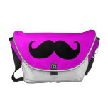 Funny Mustache on Hot Pink Background Messenger Bags