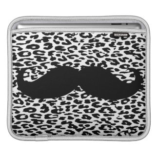 Funny Mustache on leopard skin iPad Sleeves
