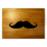 Funny Mustache on Shiny Wood Texture Background Greeting Card