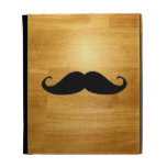 Funny Mustache on Shiny Wood Texture Background iPad Folio Cover