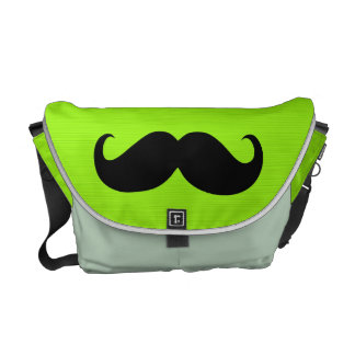 Funny Mustache on Yellow Green Background Messenger Bags