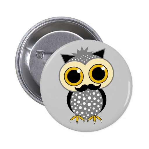 funny mustache owl 2 inch round button