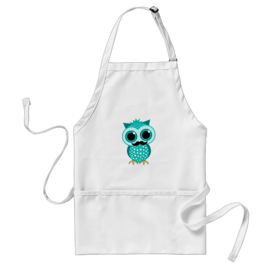 funny mustache owl adult apron
