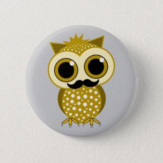 funny mustache owl button