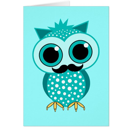 funny mustache owl card