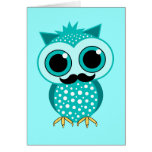 funny mustache owl cards