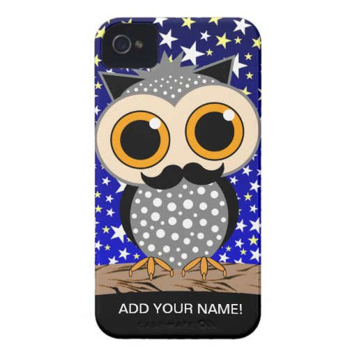 funny mustache owl iPhone 4 cases