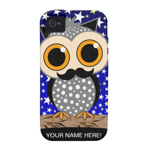 funny mustache owl Case-Mate iPhone 4 covers