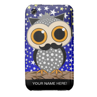 funny mustache owl Case-Mate iPhone 3 cases